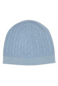 Mütze 100% Kaschmir Zopf hellblau blaugrau LORENZO CANA