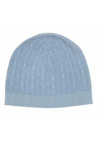 Cap 100% Cashmere Cable Stitch Light Grey Blue LORENZO CANA