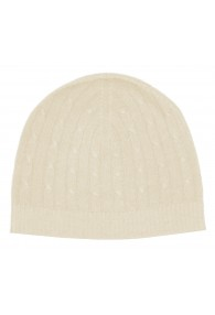 Mütze 100% Kaschmir Zopf elfenbein creme LORENZO CANA