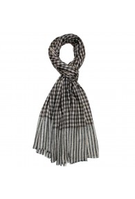 Shawl 100% Cashmere Checkered Grey Brown For Men LORENZO CANA