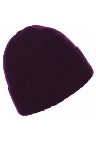 Mens Beanie 100% cashmere Fold back Purple LORENZO CANA