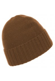 Mens Beanie 100% cashmere Fold back Light Brown LORENZO CANA