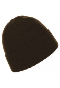 Mens Beanie 100% cashmere Fold back Dark Brown LORENZO CANA