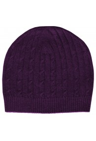 Mens Beanie Cashmere Cable Knit Violet LORENZO CANA