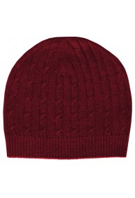 Mens Beanie Cashmere Cable Knit Red LORENZO CANA