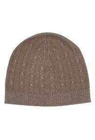 Mütze 100% Kaschmir Zopf braun beige LORENZO CANA