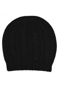 Beanie 100% Alpaca Wool Black LORENZO CANA for men