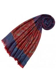 Cashmere scarf Blue Red Paisley LORENZO CANA
