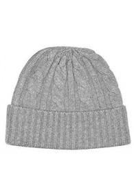 Winter Beanie Cashmere Cable Knit Gray LORENZO CANA