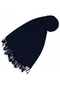 Cashmere + wool scarf dark blue monochrome LORENZO CANA