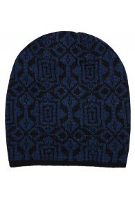 Reversible mens beanie Alpaca Wool Blue Black LORENZO CANA