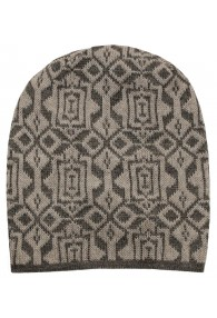 Reversible Beanie Alpaca Wool Brown Black LORENZO CANA