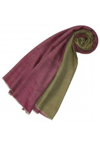 Cashmere scarf doubleface raspberry pink and fir green LORENZO CANA