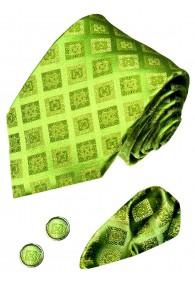 Men's Neck Tie Set 100% Silk Checkered Green LORENZO CANA