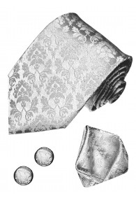 Men's Neck Tie Set 100% Silk Floral Silver LORENZO CANA