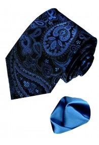 Neck Tie Set 100% Silk Paisley Dark Blue Black LORENZO CANA