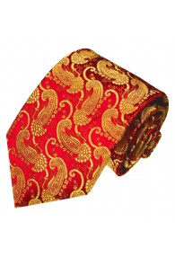 XL Neck Tie 100% Silk Red Gold LORENZO CANA