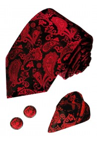 Necktie Set 100% Silk Paisley Burgundy For Men LORENZO CANA