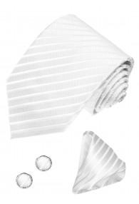 Necktie Set 100% Silk Striped Silver For Men LORENZO CANA