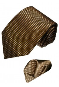 Neck Tie Set 100% Silk Checkered Brown Bronze LORENZO CANA