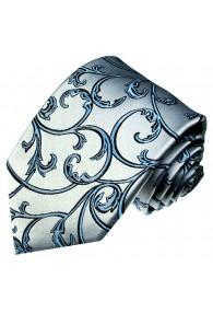 XL Necktie 100% Silk Floral Silver Blue LORENZO CANA
