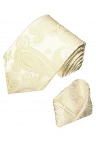 Neck Tie Set 100% Silk Paisley Ivory Beige LORENZO CANA