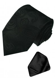Neck Tie Set 100% Silk Paisley Black Charcoal LORENZO CANA