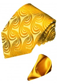Neck Tie Set 100% Silk Paisley Yellow Gold LORENZO CANA