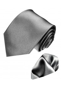 Neck Tie Set 100% Silk Uni Silver Grey LORENZO CANA