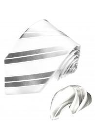 Neck Tie Set 100% Silk Striped Silver White LORENZO CANA
