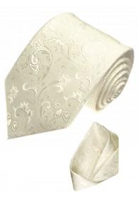 Krawattenset 100% Seide Floral beige creme LORENZO CANA