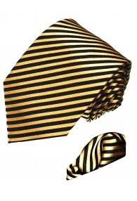 Neck Tie Set 100% Silk Striped Gold Black LORENZO CANA
