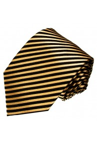XL Necktie 100% Silk Striped Gold Black LORENZO CANA