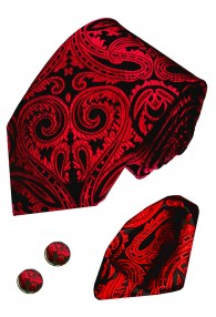 Necktie Set 100% Silk Paisley Crimson For Men LORENZO CANA
