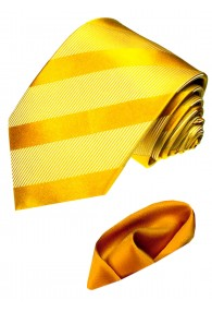 Necktie Set 100% Silk Striped Gold Orange LORENZO CANA