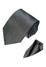 Necktie Set 100% Silk Houndstooth Silver Black LORENZO CANA