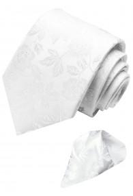 Necktie Set 100% Silk Floral White Grey LORENZO CANA