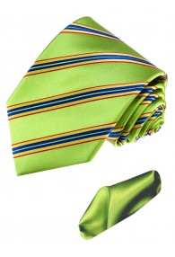 Necktie Set 100% Silk Striped Green Lime LORENZO CANA