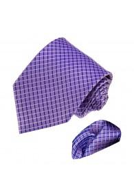 Necktie Set 100% Silk Checkered Purple LORENZO CANA
