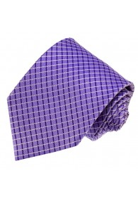 Neck Tie 100% Silk Checkered Purple LORENZO CANA
