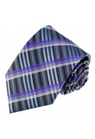 Neck Tie 100% Silk Striped Grey Blue Purple LORENZO CANA
