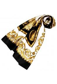 Tuch für Damen gold weiss schwarz Seide Floral LORENZO CANA