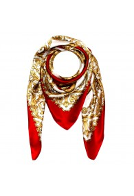 Scarf for men gold white red silk floral LORENZO CANA