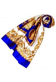 Tuch für Damen gold weiss blau Seide Floral LORENZO CANA