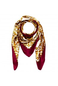 Scarf for men gold white bordeaux silk floral LORENZO CANA