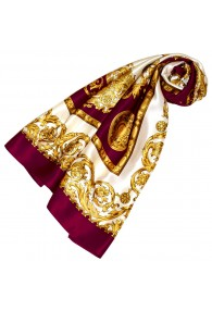 Scarf for Women gold white bordeaux silk floral LORENZO CANA