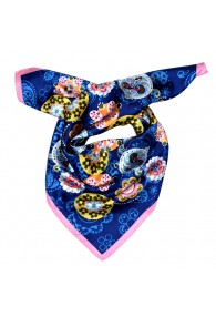 Scarf Women 100% Silk blue pink yellow Floral LORENZO CANA