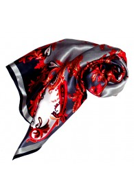 Scarf for Women grey red white silk floral LORENZO CANA
