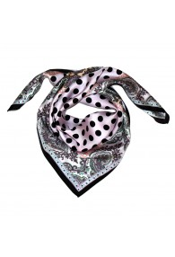Scarf Women 100% Silk pink black taupe orange dots LORENZO CANA