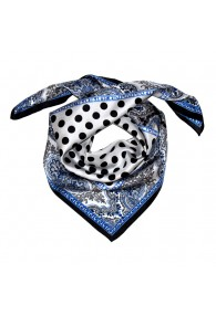 Scarf Women 100% Silk silver black blue grey dots LORENZO CANA